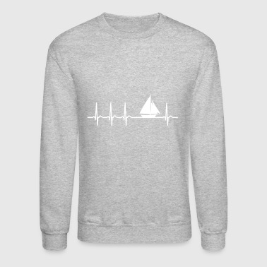 Heartbeat Sailing boat Sailor Fun quote cool gift - Crewneck Sweatshirt