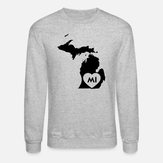 Michigan Hoodies & Sweatshirts - I Love Michigan State - Unisex Crewneck Sweatshirt heather gray