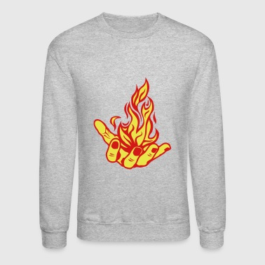 open fire flame hand - Crewneck Sweatshirt