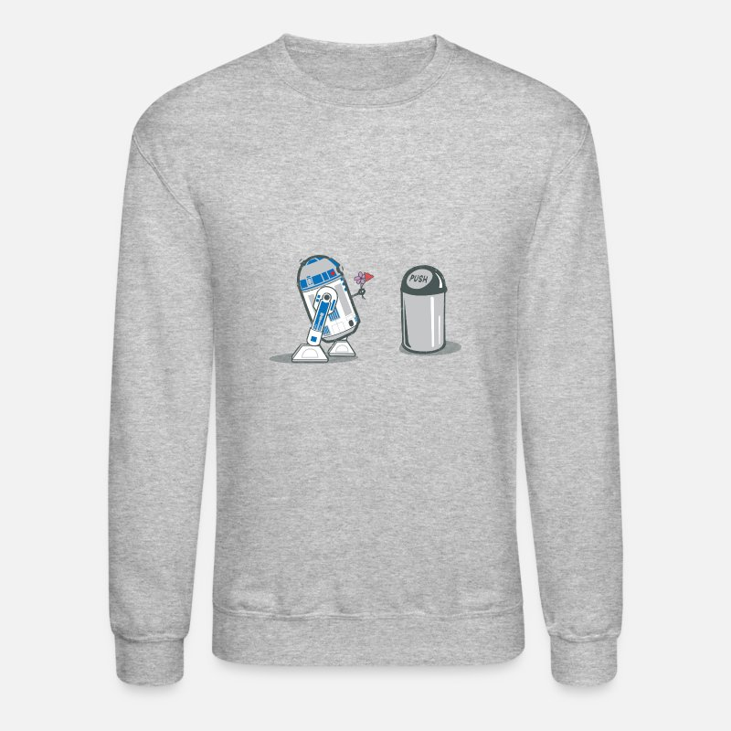 Funny Hoodies & Sweatshirts - robot_crush_spreadshirt - Unisex Crewneck Sweatshirt heather gray