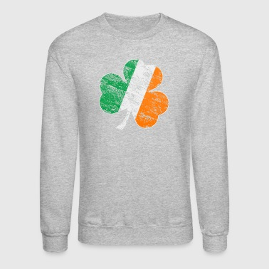 Vintage Distressed Irish Flag Shamrock - Crewneck Sweatshirt