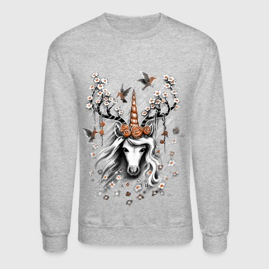 Deer Unicorn Flowers - Crewneck Sweatshirt