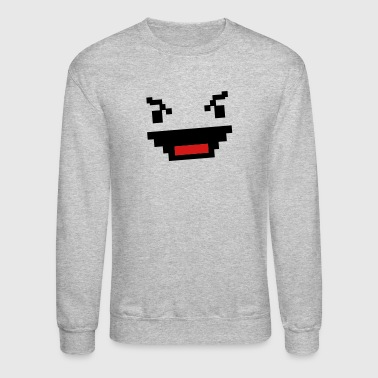 evil digital gamer geek face in squares - Crewneck Sweatshirt