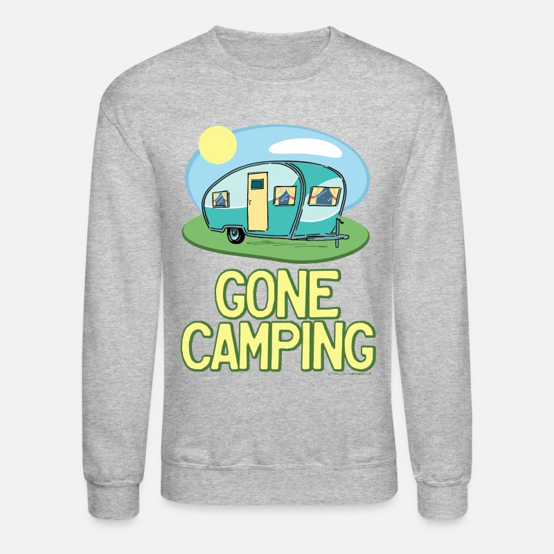 Camping Hoodies & Sweatshirts - Gone Camping Travel Trailer - Unisex Crewneck Sweatshirt heather gray