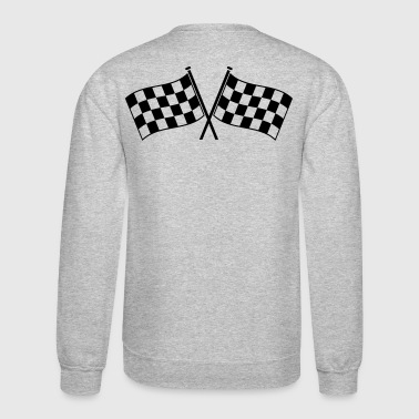 Checkered Flag two checkered flags RACING MOTOR SPORTS - Crewneck Sweatshirt