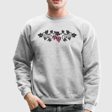 Wine grape with vine leaves, vine. - Crewneck Sweatshirt