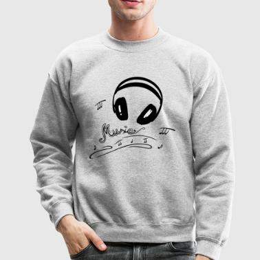 Retro microphone with headphones and music notes. - Crewneck Sweatshirt