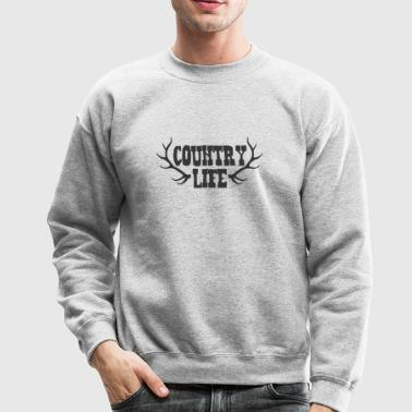 Country Life with Deer Antlers - Crewneck Sweatshirt