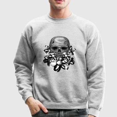 Skull with flowers - Crewneck Sweatshirt