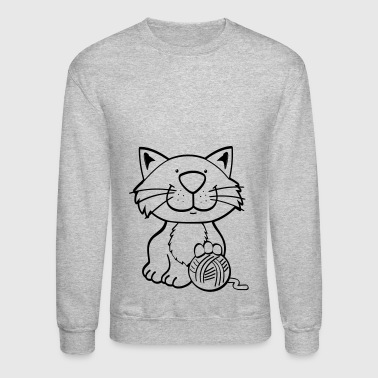 Cat with ball of wool present gift idea - Crewneck Sweatshirt
