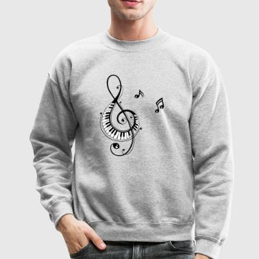 Clef with piano keys and music notes - Crewneck Sweatshirt