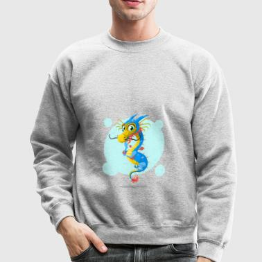 Cute chinese dragon with moustache - Crewneck Sweatshirt