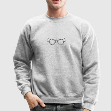 scottie dog glasses black white line art coloring - Crewneck Sweatshirt