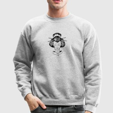 Japanese_geisha_with_closed_eyes_black - Crewneck Sweatshirt