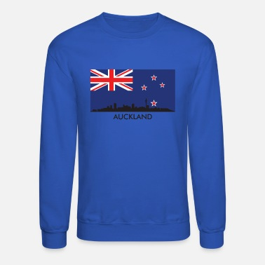 Auckland Auckland Skyline New Zealand Flag - Unisex Crewneck Sweatshirt