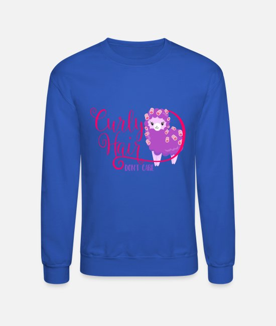 Hair Hoodies & Sweatshirts - Curly Hair Don't Care - Unisex Crewneck Sweatshirt royal blue