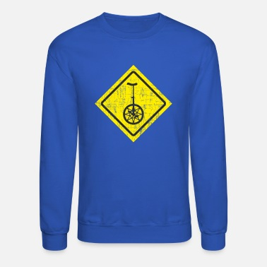 Traffic Sign Funny Unicycle Yellow Traffic Sign - Crewneck Sweatshirt