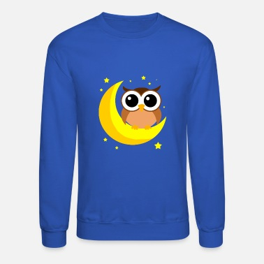 Owl Brown Owl On Moon Cartoon Birds Of Prey Lover Cool - Crewneck Sweatshirt