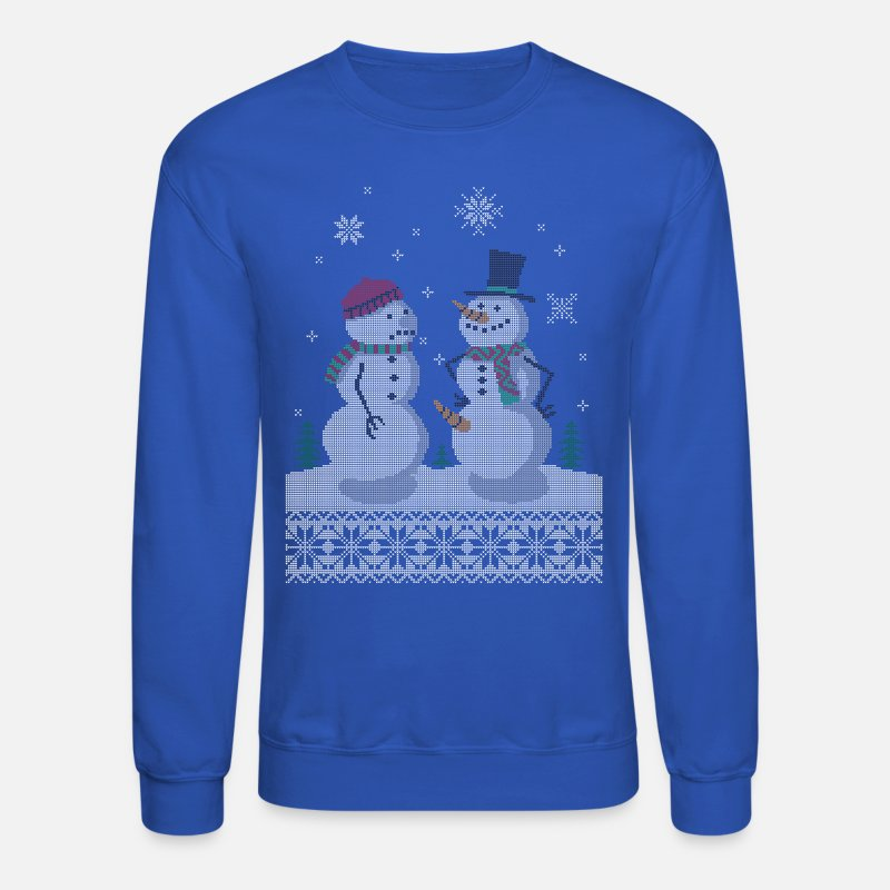 Christmas Hoodies & Sweatshirts - UGLY HOLIDAY SWEATER HAPPY SNOWMAN CARROT THIEF - Unisex Crewneck Sweatshirt royal blue