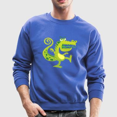 Scary reptile like monster growling in angry mood - Crewneck Sweatshirt