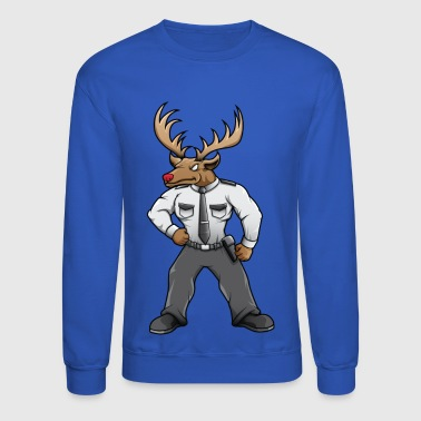 Security deer with red nose - Crewneck Sweatshirt