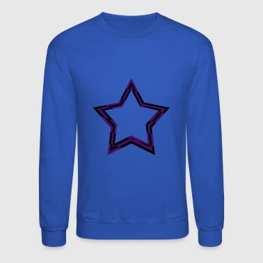 purple and black checkered star - Crewneck Sweatshirt