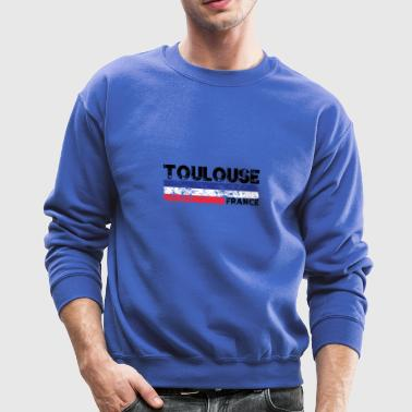 Toulouse France Flag Distressed Tricolor French - Crewneck Sweatshirt