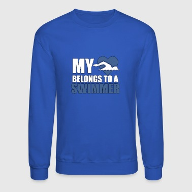 My Heart Belongs To A Swimmer - Swimming - TB - Crewneck Sweatshirt