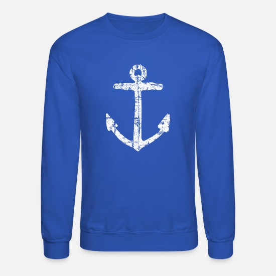 Seaman Hoodies & Sweatshirts - Anchor Vintage White Sailing Sailor Design - Unisex Crewneck Sweatshirt royal blue