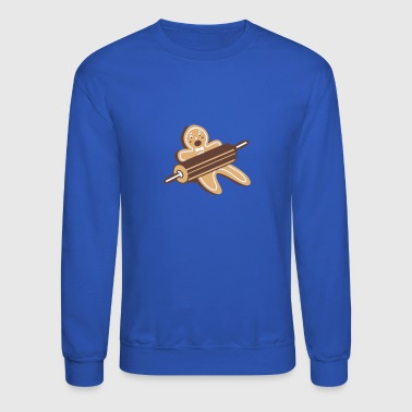 A rolling pin and a gingerbread man  - Crewneck Sweatshirt