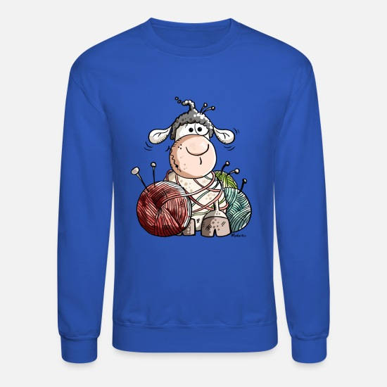 Knitting Hoodies & Sweatshirts - Funny Sheep With Wool Ball - Unisex Crewneck Sweatshirt royal blue