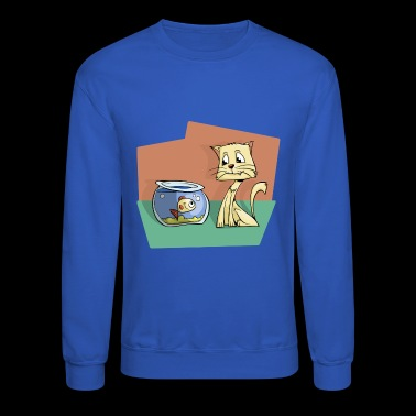 cat and fish - Crewneck Sweatshirt