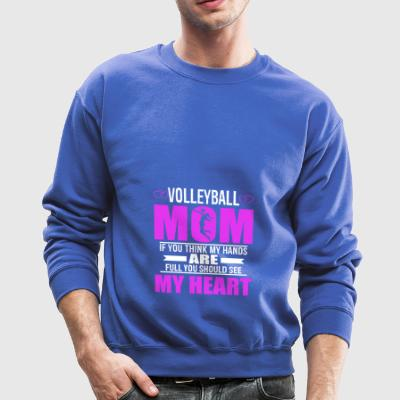 Volleyball Moms Full Heart Mothers Day T-Shirt - Crewneck Sweatshirt