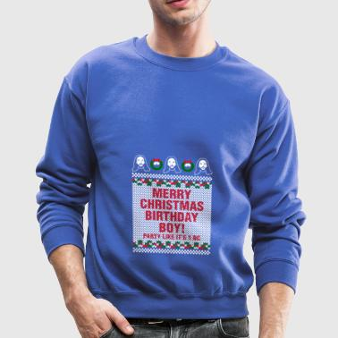 Merry Christmas Birthday Boy Jesus Ugly Sweater - Crewneck Sweatshirt
