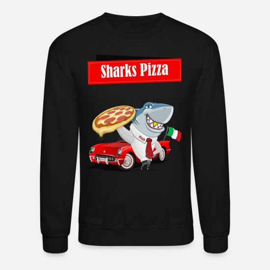 Kids Hoodies & Sweatshirts - Sharks Pizza italian flag shark. delivery shark - Unisex Crewneck Sweatshirt black