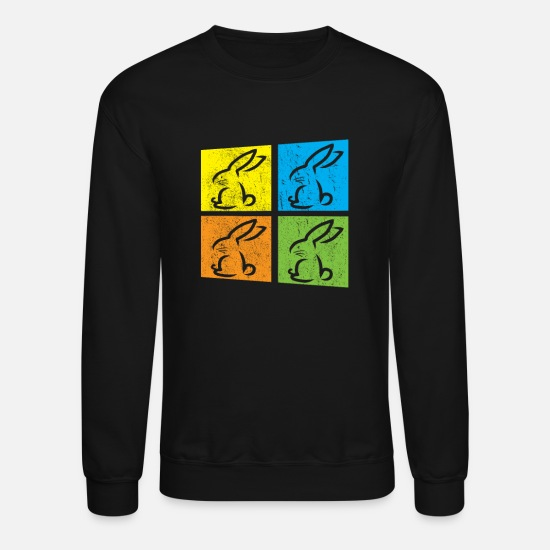 Gift Idea Hoodies & Sweatshirts - Rabbit Colorful Cage Rabbit - Unisex Crewneck Sweatshirt black