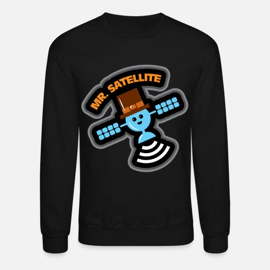 Tv Hoodies & Sweatshirts - Satelite gift TV network cell phone orbit - Unisex Crewneck Sweatshirt black