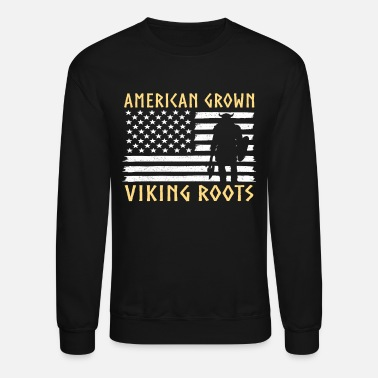 Axe American Grown With Viking Roots - Unisex Crewneck Sweatshirt