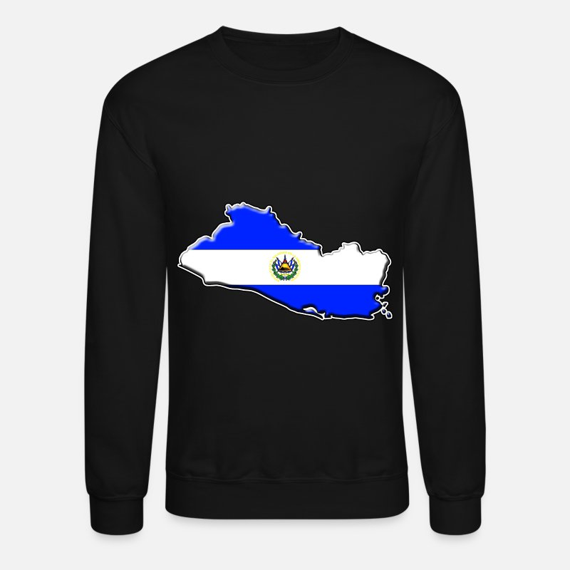 Flag Hoodies & Sweatshirts - El Salvador Flag Map - Unisex Crewneck Sweatshirt black