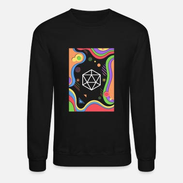 Abstract Rainbow Polyhedral D20 Dice Tabletop RPG - Unisex Crewneck Sweatshirt