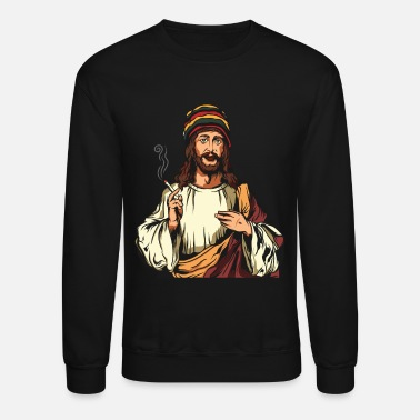 Smoking Weed Joint Jesus Cannabis Hemp Rasta 420 - Crewneck Sweatshirt