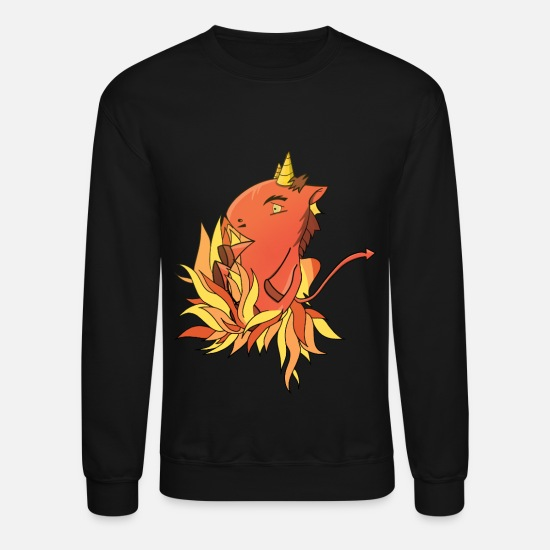 Satan Hoodies & Sweatshirts - Satan unicorn in fire - Unisex Crewneck Sweatshirt black
