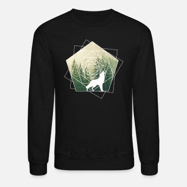 Geometry nature geometry shapes wolf forest - Unisex Crewneck Sweatshirt
