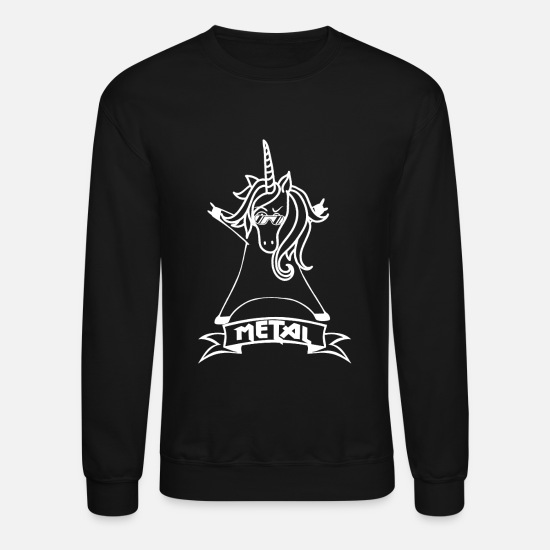 Black Metal Hoodies & Sweatshirts - Metal Unicorn - Unicorn - Metal - Music - Unisex Crewneck Sweatshirt black