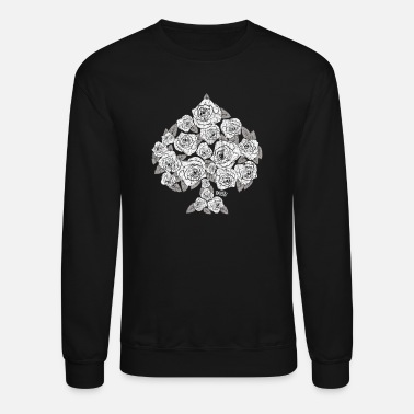 Playing Spade Bouquet of Roses (white) - Crewneck Sweatshirt