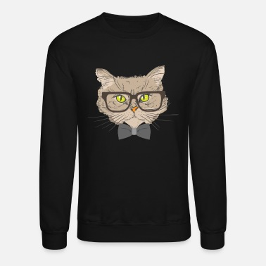 Hipster Cat glasses cleverly cleverly read teacher gift - Crewneck Sweatshirt