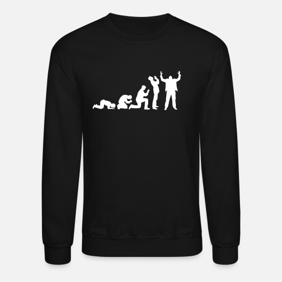 History Hoodies & Sweatshirts - Evolution of praying - Unisex Crewneck Sweatshirt black