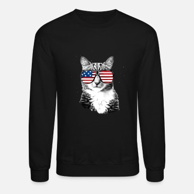 Sunglasses Meowica with US flag sunglasses in space - Unisex Crewneck Sweatshirt