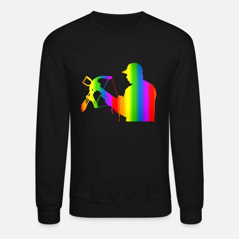 Crossbow Hoodies & Sweatshirts - Colorful Crossbow Rainbow - Unisex Crewneck Sweatshirt black