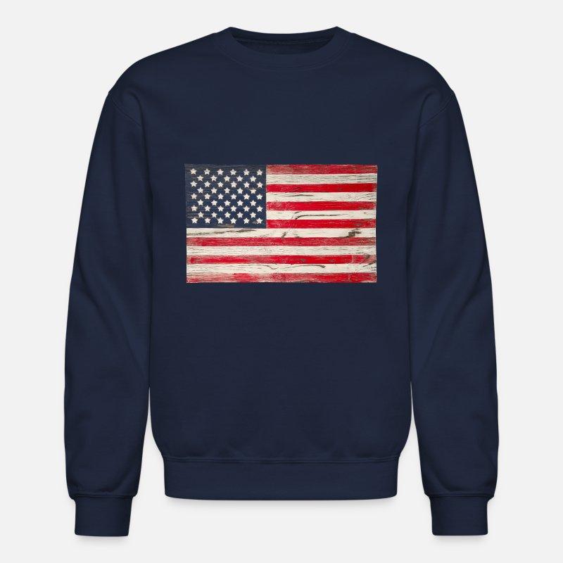 Distressed American Flag Unisex Crewneck Vintage USA Flag 4th of July Sweater